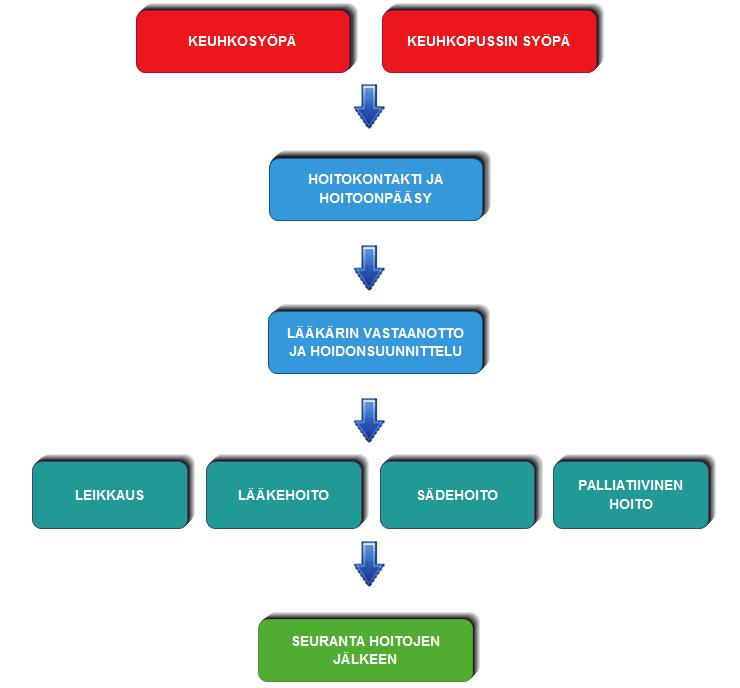 Kaavio, miten keuhkosyövän hoito tapahtuu
